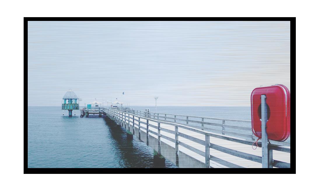 Grömitz-Bilder auf Metall - Winterliche Seebrücke auf gebürstetem Aluminium gedruckt