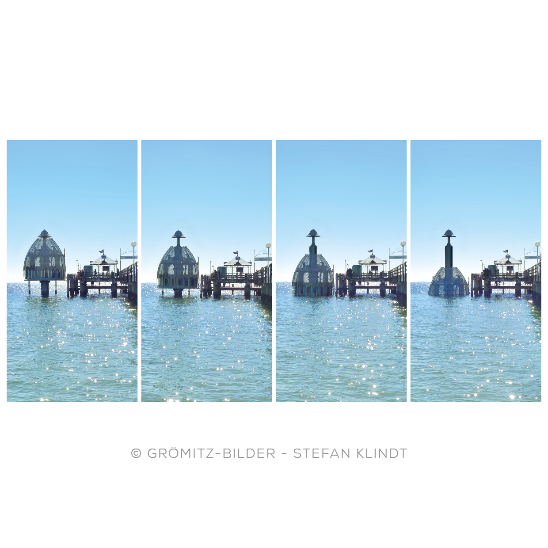 Stadien der Tauchglocke an der Grömitzer Seebrücke