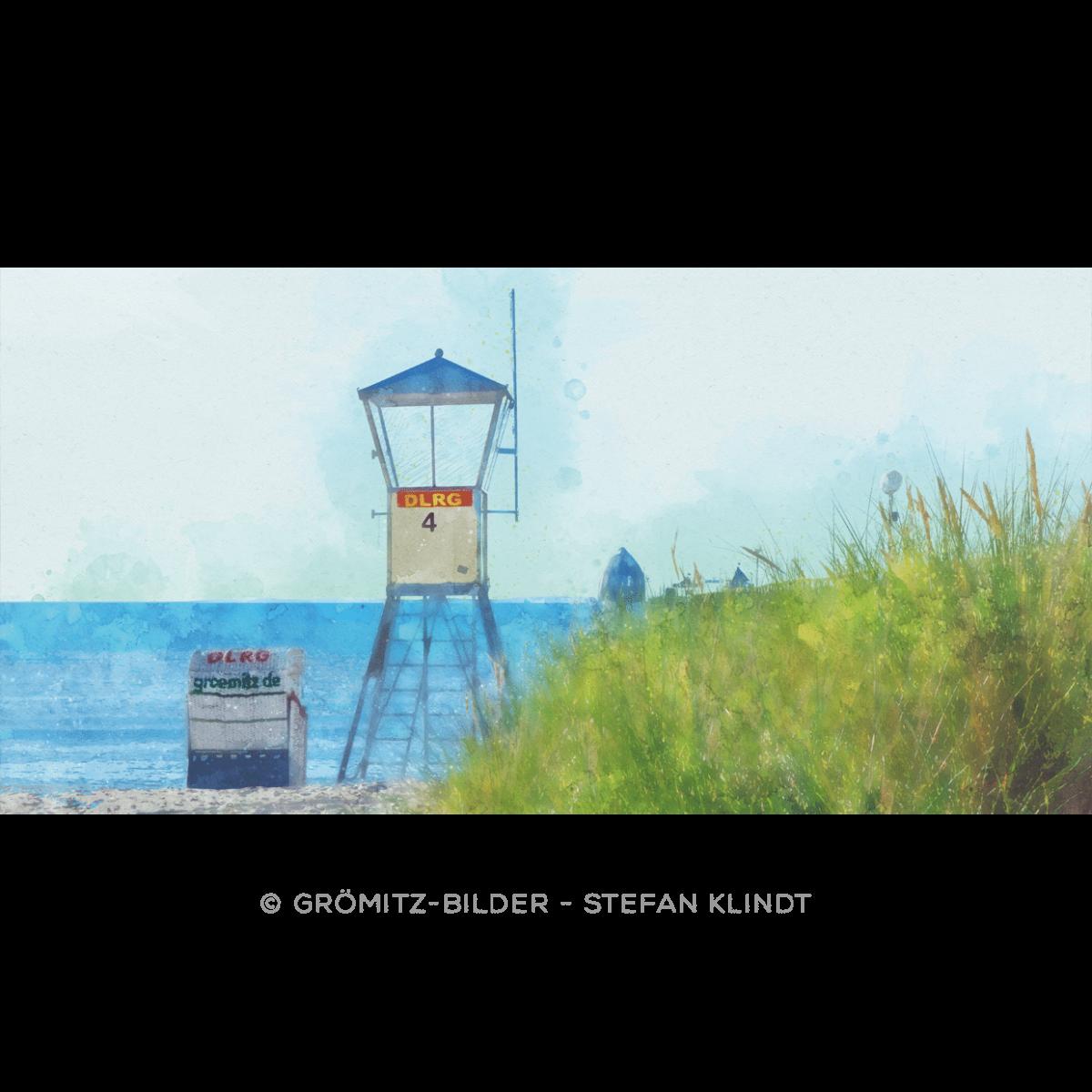 Grömitz Art - Rettungsturm in Aquarell