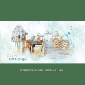 Grömitz Art - Seebrückenkopf als Aquarellzeichnung