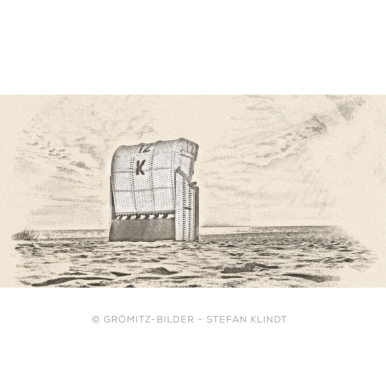 Grömitz Art - Strandkorb als Kreide-/Kohle-Zeichnung