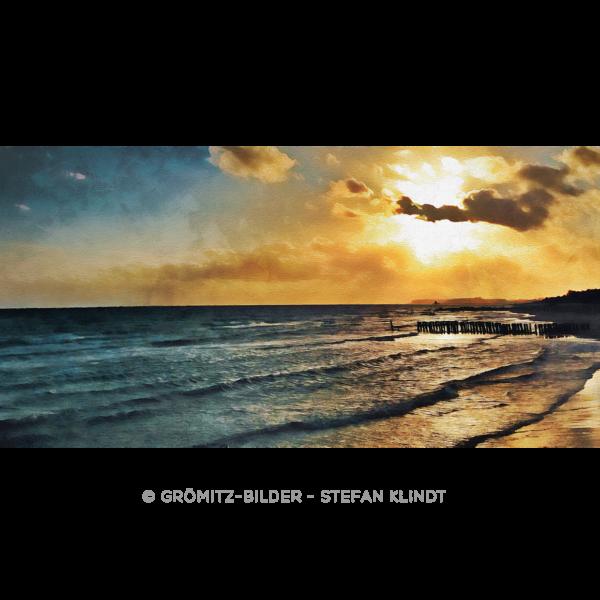Grömitz Art - Sonnenuntergang über der Steilküste als Ölgemälde auf Leinwand